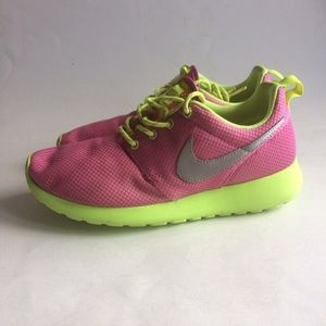 Women's Nike Pink/Neon Roshe Running Shoes Size 6